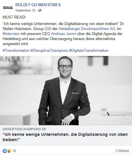 Disruptive Champions, Heidelberger Druckmaschinen AG, BOLDLY GO INDUSTRIES